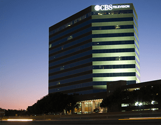 Dusk falls on CBS Tower in Dallas, TX, home of RWB Consulting Engineers