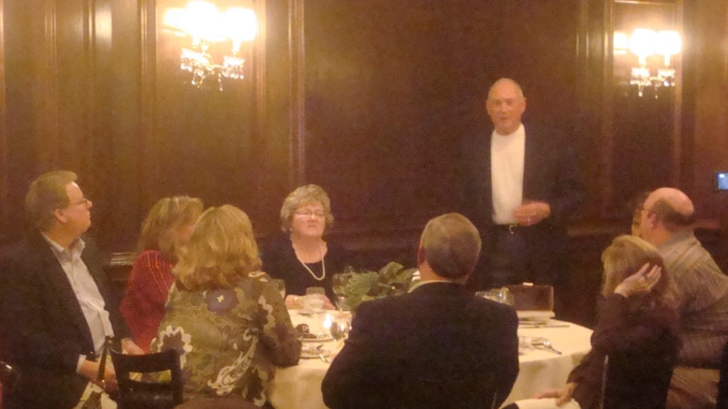 An image of Jim Reed of Reed Wells Benson and Company speaking at his retirement party