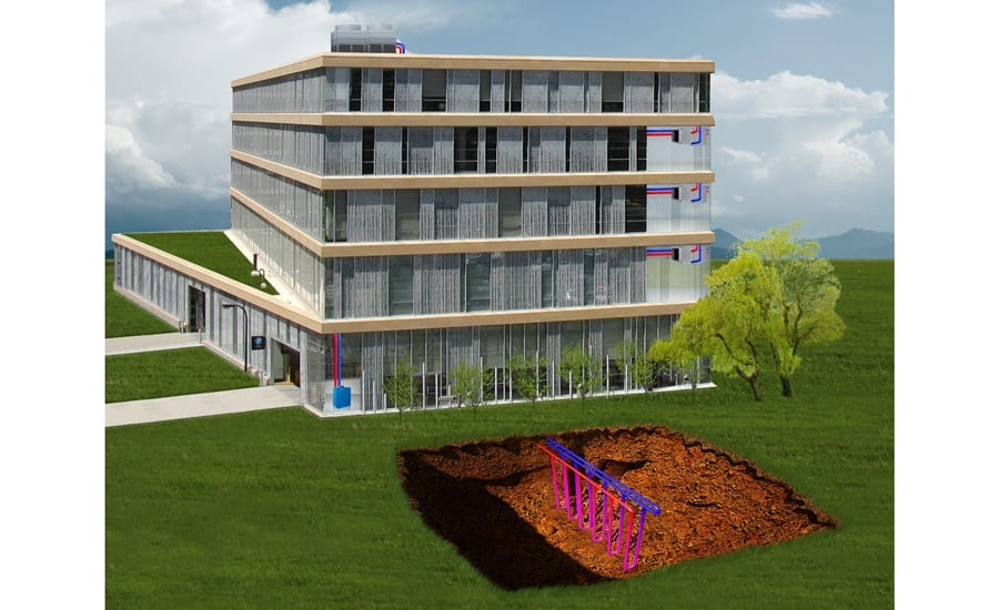 Graphic image of a four-story building with geothermal well field system